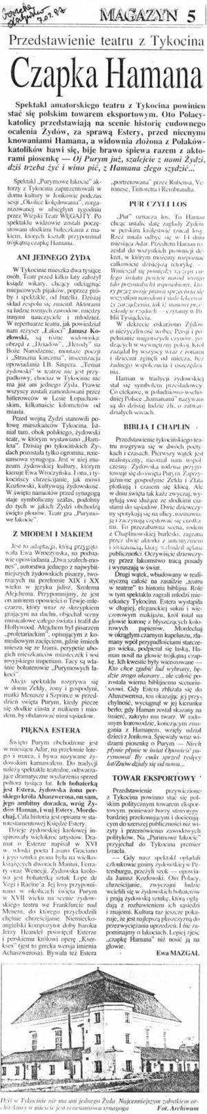 Purimowe Łakocie-artykuł z Gazety Olsztyńskiej