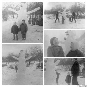 zima-kolaż, zmontowany dzięki Google Photo, zdjęcia troszeczkę starsze od poprzednich; na fotkach prócz mnie i siostry mój Tata Antoni (śp.) i wujek Andrzej Olkowski (śp.), na zdjeciu po prawej od góry są oni odpowiednio po prawej i po lewej.
